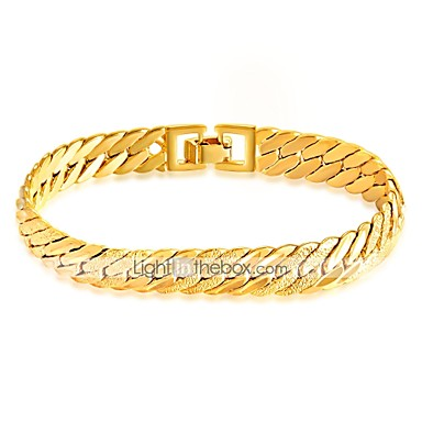 Men's Chain Bracelet - Gold Plated Rock, Gothic, Fashion Bracelet Gold For Street / Club