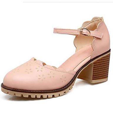 Damen Schuhe PU Frühling Sommer Komfort Outdoor Blockabsatz Runde Zehe Für Normal Schwarz Gelb Rosa
