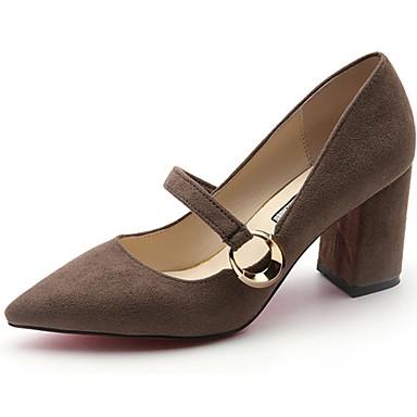 Women's Cashmere Summer Basic Pump Heels Chunky Heel Pointed Toe Buckle Black / Khaki / Dress / 3-4