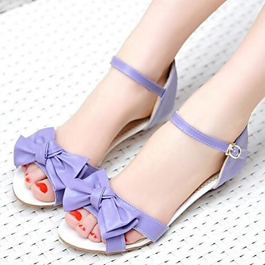 Damen Schuhe PU Sommer Komfort Sandalen Für Normal Purpur Grün Rosa