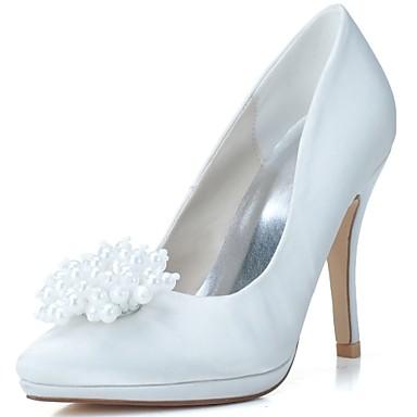 Női Cipő Szatén Tavasz Nyár Formai cipő Esküvői cipők Tűsarok Erősített lábujj Gyöngy mert Esküvő Party és Estélyi Fehér Kék