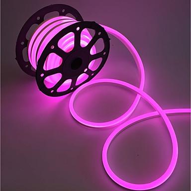 billige LED Strip Lamper-kwb 2m 240leds 220v-240v spenningsledet neonlampe 2835 120led / m varm hvit / hvit / rød / gul / blå / grønn / pinkand eu plugg holdbar super lys for skipsbil bryllup utendørs innendørs dekor