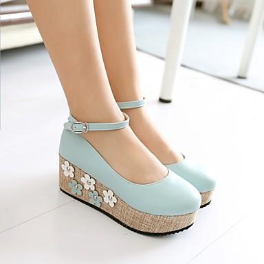 Damen Schuhe PU Sommer Komfort High Heels Creepers Runde Zehe Für Normal Weiß Blau Rosa