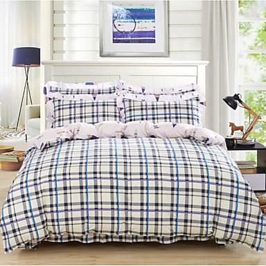 Luxus 4 Stück Baumwolle Baumwolle 4-teilig (1 Bettbezug, 1 Bettlaken, 2 Kissenbezüge)