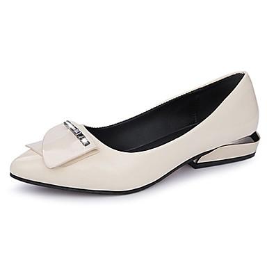 Damen Schuhe PU Sommer Komfort Flache Schuhe Walking Flacher Absatz Spitze Zehe für Normal Schwarz Beige