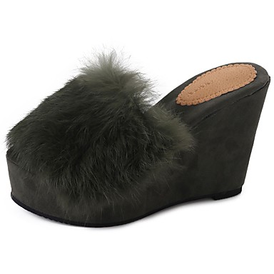 Women's Shoes Feather / Fur Fall Comfort Slippers & Flip-Flops Wedge Heel Round Toe Black / Red / Green