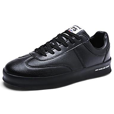 Férfi cipő PU Tavasz Ősz Kényelmes Tornacipők Fűző mert Hétköznapi Fehér Fekete
