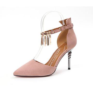 Damen Schuhe Beflockung PU Frühling Komfort High Heels Für Normal Schwarz Grün Rosa