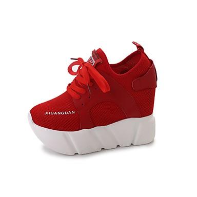 Damen Schuhe Polyurethan Frühling Herbst Komfort Sneakers Walking Plattform Geschlossene Spitze Kombination Für Normal Schwarz Rot