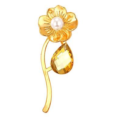 Női, Lány Melltűk - Ezüstözött, Arannyal bevont Virág Arany, Fehér