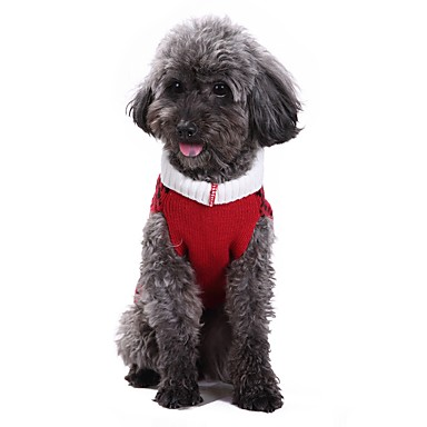 Cat Dog Coat Sweater Christmas Dog Clothes Plaid/Check Red Spandex Cotton/Linen Blend Costume For Pets Party Casual/Daily Cosplay Keep