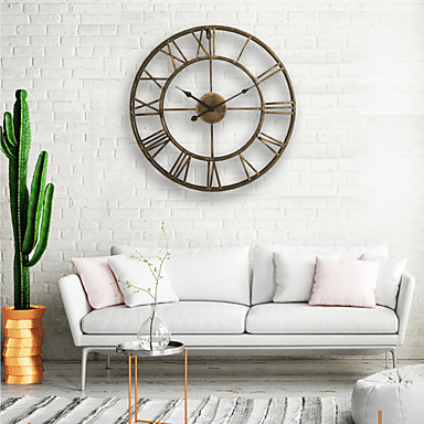cheap Wall Clocks-Wall Clock, 20'' Round Centurian Classic Metal Wrought Iron Roman Numeral Style Home Decor Analog Metal Clock