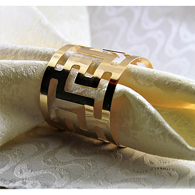 Metal Napkin Ring Patterned Eco-friendly Table Decorations 12 pcs