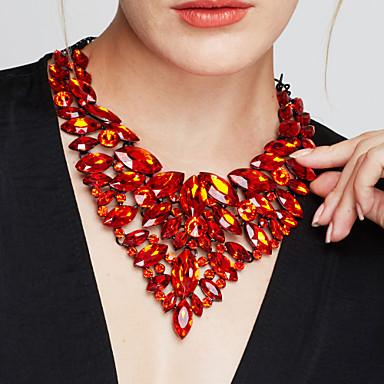 Mulheres Jóias Luxo Elegant Fashion Europeu Bijuterias Destaque Colares Declaração Colares Statement Pedras preciosas sintéticas Cristal