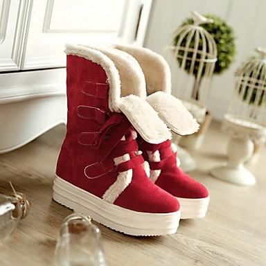 Damen Schuhe PU Herbst Winter Komfort Stiefel Flacher Absatz Runde Zehe Mit Für Normal Beige Gelb Rot