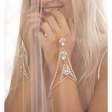 abordables Bracelet-Bracelets Bagues Femme Strass Goutte Esclaves d'or dames Personnalisé Mode Bling Bling Tous les jours Bracelet Bijoux Dorée Argent pour Mariage Cadeau Quotidien Plein Air Sortie Costumes de cosplay