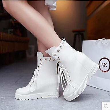 Damen Schuhe PU Frühling Herbst Springerstiefel Stiefel Für Normal Weiß Schwarz