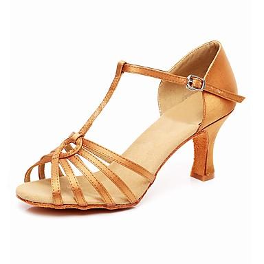 Pentru femei Pantofi Dans Latin Țesătură Călcâi Toc Cubanez Pantofi de dans Negru / Rosu / Culoarea pielii / Piele