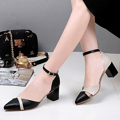 Damen Schuhe PU Sommer Komfort Sandalen Walking Blockabsatz Spitze Zehe Kombination für Normal Schwarz Beige