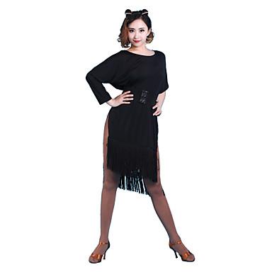الرقص اللاتيني الفساتين للمرأة أداء نايلون شرابة نصف كم فستان
