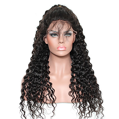 Human Hair Lace Front Wig Curly Wig 130% Natural Hairline / African American Wig / 100% Hand Tied Women's Medium Length / Long Human Hair Lace Wig