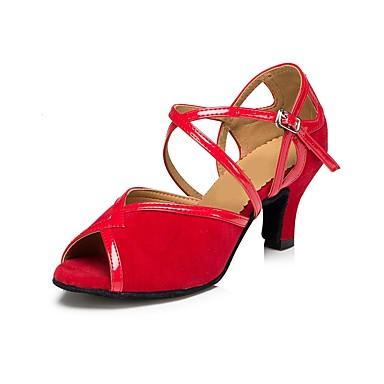 Chaussures de danse(Noir) -Personnalisables-Talon Personnalisé-Satin-Latine / Salsa , red , us11 / eu43 / uk9 / cn44