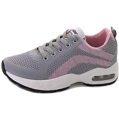 Női Cipő Tüll Tavasz Ősz Kényelmes Sportcipők Gyalogló Lapos Kerek orrú Fűző mert Sport Kék Rózsaszín Fekete/fehér