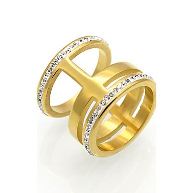 Női Kocka cirkónia Kocka cirkónia Band Ring - Circle Shape Személyre szabott / Vintage / Divat Arany / Titán Gyűrű Kompatibilitás Esküvő