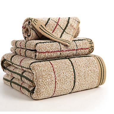 Superior Quality Bath Towel Set, Plaid / Check 100% Cotton Bathroom