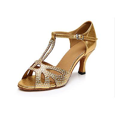 Női Latin cipők Lycra Magassarkúk Professzionális Strasszkő Kubai sarok Személyre szabható Dance Shoes Arany