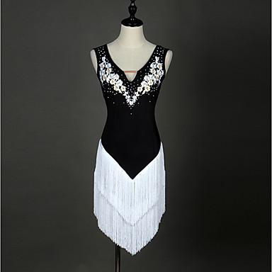 Latin Dance Dresses Women's Performance Spandex Organza Appliques Crystals / Rhinestones Tassel Sleeveless High
