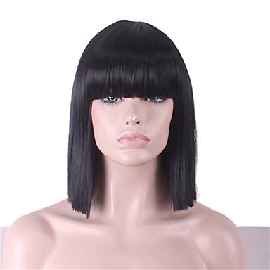 Szintetikus parókák Egyenes Aszimmetrikus frizura Szintetikus haj Természetes hajszálvonal Fekete Paróka Női Közepes hosszúságú Jelmez