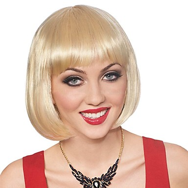 Synthetic Wig Straight Blonde Bob Haircut Synthetic Hair Blonde Wig Women's Short Capless