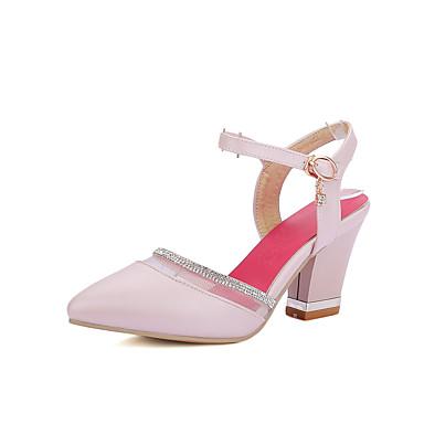 Damen Schuhe PU Sommer Pumps Sandalen Blockabsatz Spitze Zehe Für Hochzeit Kleid Party & Festivität Weiß Blau Rosa