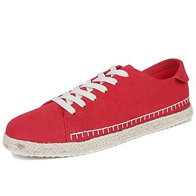 Férfi cipő Szövet Tavasz Ősz Kényelmes Tornacipők Fűző mert Hétköznapi Fekete Szürke Piros Fekete/Vörös