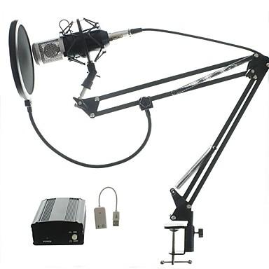 Audio készlet bm700 mikrofonfelvevő stúdió mikrofon szélvédő ablakos szűrő kart tartó 48v fantom teljesítmény