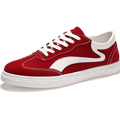 Herrn Schuhe Tüll Frühling Herbst Komfort Sneakers Schnürsenkel für Normal Schwarz Grau Rot