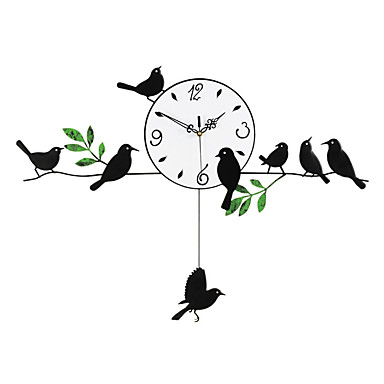 الحديثة / المعاصرة خشب / معدن دائري في الأماكن المغلقة / في الهواء الطلق,AA ساعة الحائط