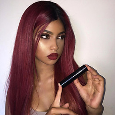 Synthetic Wig Straight Ombre Synthetic Hair Ombre Wig Long Capless Black / Dark Wine