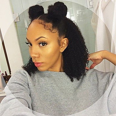 Emberi haj Csipke korona, szőtt / Csipke Paróka Brazil haj Hullámos / Kinky Curly Paróka Bob frizura 130% Afro-amerikai paróka / 100% kézi csomózású Női Emberi hajból készült parókák / Kinky Göndör
