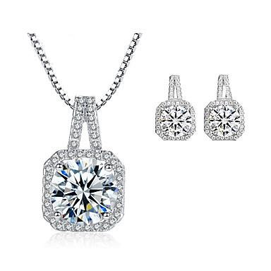 Női Kocka cirkónia Mértani Ékszer szett - Kocka cirkónia Luxus, Divat tartalmaz Beszúrós fülbevalók Nyaklánc Ezüst Kompatibilitás Esküvő