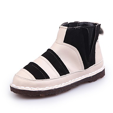 Damen Schuhe PU Herbst Komfort formale Schuhe Flache Schuhe Walking Flacher Absatz Runde Zehe für Normal Kleid Schwarz Rot Grün