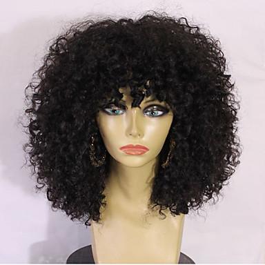 Emberi haj Csipke Paróka Brazil haj Kinky Curly Réteges frizura Tincselve 130% Sűrűség 100% kézi csomózású 100% Szűz Afro-amerikai paróka