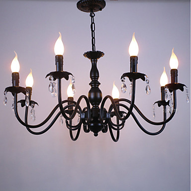 8-Light Chandelier Ambient Light - Crystal, Candle Style, 110-120V / 220-240V Bulb Not Included