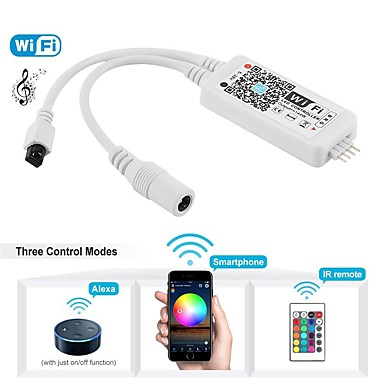 WiFi Wireless LED Smart Controller Working with Android and IOS System Mobile Phone Free App for RGB LED Strips Comes With One 24 Keys Remote Control