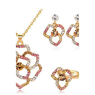 Damen Blume Schmuck-Set - Personalisiert Modisch Simple Style Gold Tropfen-Ohrringe Ring Halskette Für Hochzeit Party Geburtstag