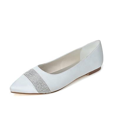 Női Cipő Szatén Tavasz Nyár Balerinacipő Esküvői cipők Lapos Erősített lábujj Strasszkő mert Esküvő Ruha Party és Estélyi Fehér Bíbor