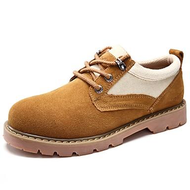 Férfi cipő PU Tavasz Ősz Kényelmes Félcipők Fűző mert Hétköznapi Sárga Khakizöld