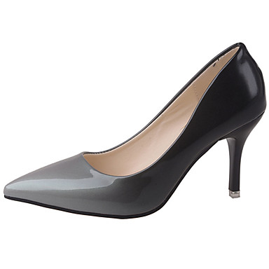 Damen Schuhe PU Sommer Komfort High Heels Walking Stöckelabsatz Spitze Zehe für Normal Grau Rot