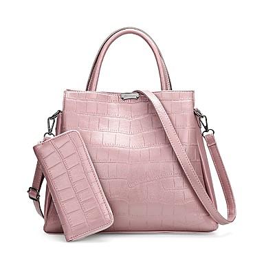 Női Táskák PU táska szettek 2 db erszényes készlet Fekete / Rubin / Arcpír rózsaszín